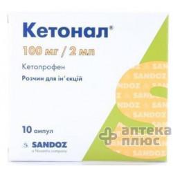 Кетонал раствор для инъекций 100 мг/2 мл ампулы 2 мл №10