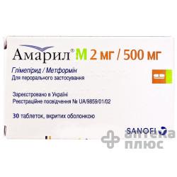Амарил М таблетки п/о 2 мг/500 мг №30