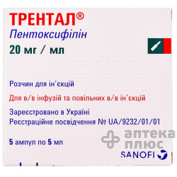Трентал раствор для инъекций 100 мг ампулы 5 мл №5