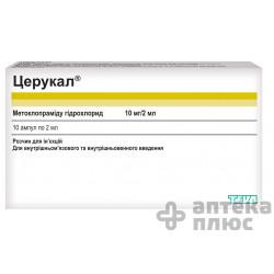 Церукал раствор для инъекций 10 мг ампулы 2 мл №10