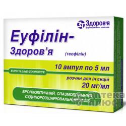 Эуфиллин раствор для инъекций 2% ампулы 5 мл №10