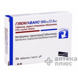 Глюкованс таблетки п/о 500 мг + 2,5 мг №30