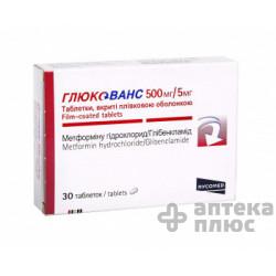 Глюкованс таблетки п/о 500 мг + 5 мг №30